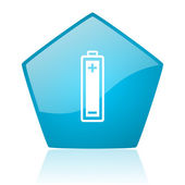 Battery blue pentagon web glossy icon — Stock Photo
