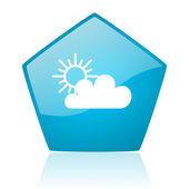 Weersvoorspelling blauw pentagon web glanzende pictogram — Stockfoto