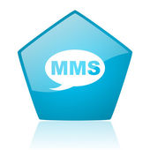 Mms blauwe pentagon web glanzende pictogram — Stockfoto