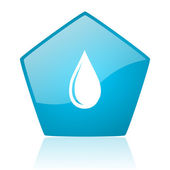 Water drop blue pentagon web glossy icon — Stock Photo