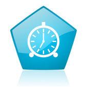 Alarm clock blue pentagon web glossy icon — Stock Photo