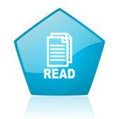 Leia o ícone brilhante do pentágono azul web — Foto Stock