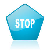 Stop blue pentagon web glossy icon — Stock Photo