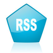 Rss blue pentagon web glossy icon — Stock Photo