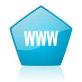 Www blue pentagon web glossy icon — Stock Photo