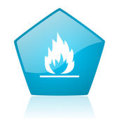 Flames blue pentagon web glossy icon — Stock Photo
