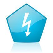 Lightning blue pentagon web glossy icon — Stock Photo