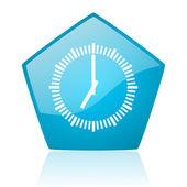 Clock blue pentagon web glossy icon — Stock Photo