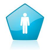 Mężczyzna niebieski pentagonu www błyszczący ikona — Zdjęcie stockowe