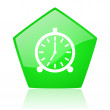 Alarm clock green pentagon web glossy icon — Foto de Stock