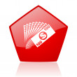 Money red web glossy icon — Stock Photo