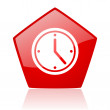 Clock red web glossy icon — Stock Photo
