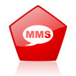Mms red web glossy icon — Stock Photo #24231861