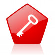 Key red pentagon web glossy icon — Stock Photo #24232251