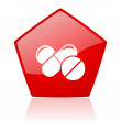 Pills red pentagon web glossy icon — Stockfoto #24232261