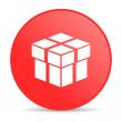 Box red circle web glossy icon — Stock Photo #24232519