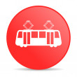 Royalty-Free Stock Photo: Tram red circle web glossy icon