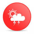 Weather forecast red circle web glossy icon - Lizenzfreies Foto