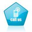 Call us blue pentagon web glossy icon - Stock Photo