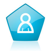 Account blue pentagon web glossy icon — Stock Photo