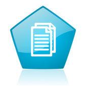 Blauwe pentagon web glanzende documentpictogram — Stockfoto