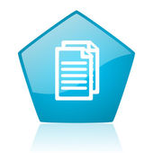 Document blue pentagon web glossy icon — Stockfoto