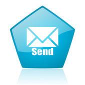Send blue pentagon web glossy icon — Stock Photo