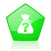 Riddle green pentagon web glossy icon — Stock Photo