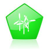 Windmill green pentagon web glossy icon — Stock Photo