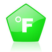 Fahrenheit green pentagon web glossy icon — Stock Photo