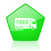 Free delivery green pentagon web glossy icon — Stock Photo