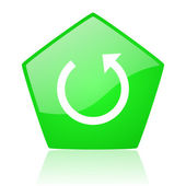 Rotate green pentagon web glossy icon — Stock Photo