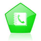 Phonebook green pentagon web glossy icon — Stock Photo