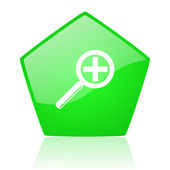 Magnification green pentagon web glossy icon — Stock Photo