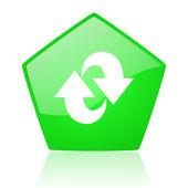 Rotate green pentagon web glossy icon — Stock Photo