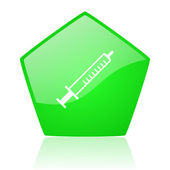 Syringe green pentagon web glossy icon — Stock Photo