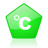 Celsius green pentagon web glossy icon — Stock Photo