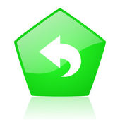 Back green pentagon web glossy icon — Stock Photo