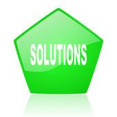 çözümler pentagon web parlak simge yeşil — Stok fotoğraf