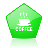 Coffee green pentagon web glossy icon — Stock Photo