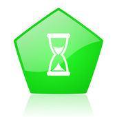 Time green pentagon web glossy icon — Stock Photo