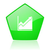 Histogram green pentagon web glossy icon — Stock Photo