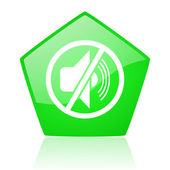 Mute green pentagon web glossy icon — Stock Photo