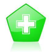 Pharmacy green pentagon web glossy icon — Stock Photo