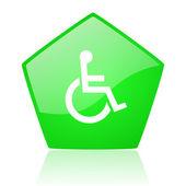 Accessibility green pentagon web glossy icon — Stock Photo