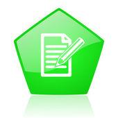 Abonneren groene pentagon web glanzende pictogram — Stockfoto