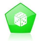 Dice green pentagon web glossy icon — Stock Photo