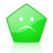 Cry green pentagon web glossy icon — Stock Photo