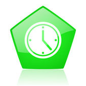 Clock green pentagon web glossy icon — Stock Photo