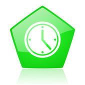 Clock green pentagon web glossy icon — Stock Photo